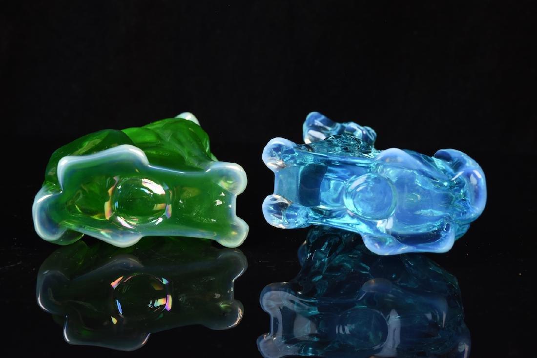 (2) Mosser Iridescent Art Glass Dog Figurines - 4