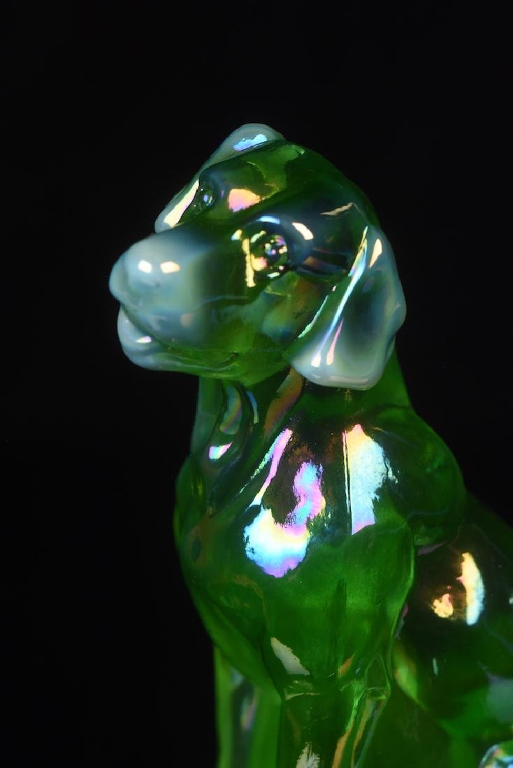 (2) Mosser Iridescent Art Glass Dog Figurines - 7