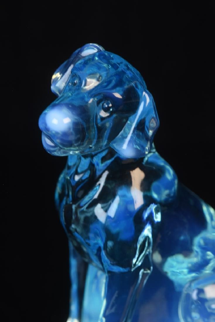 (2) Mosser Iridescent Art Glass Dog Figurines - 8