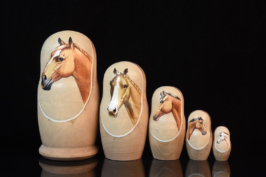 Russian Nesting Dolls, horse heads