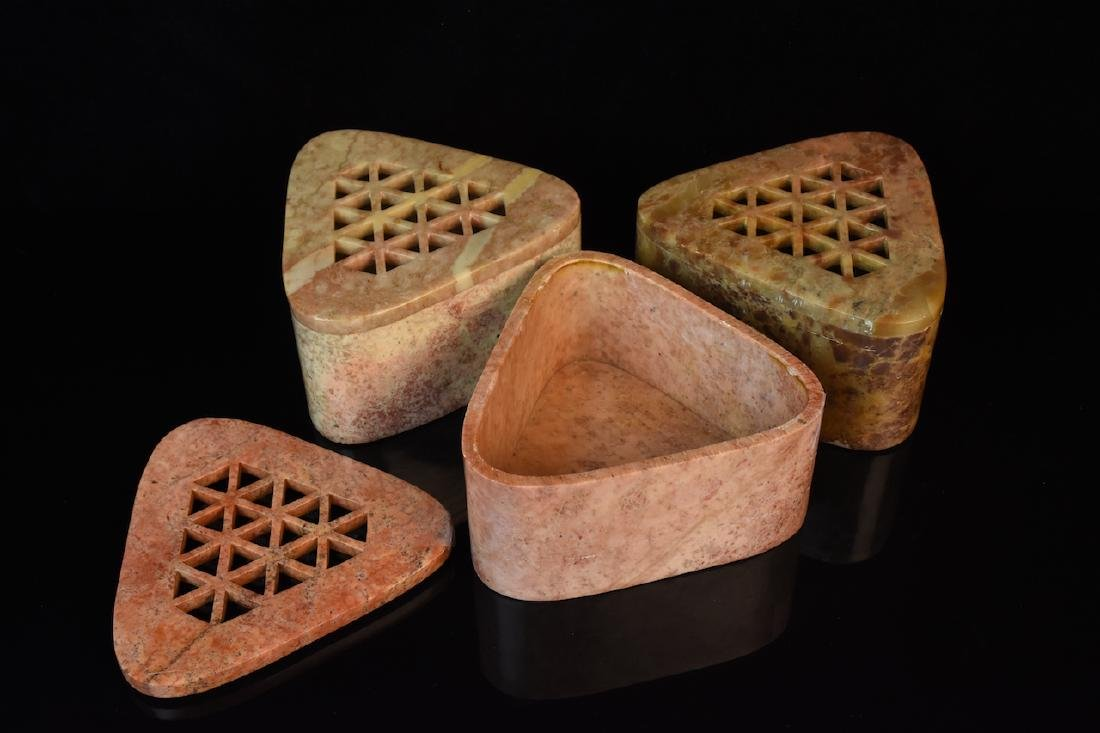 Carved Indian Soapstone Trinket Boxes - 2