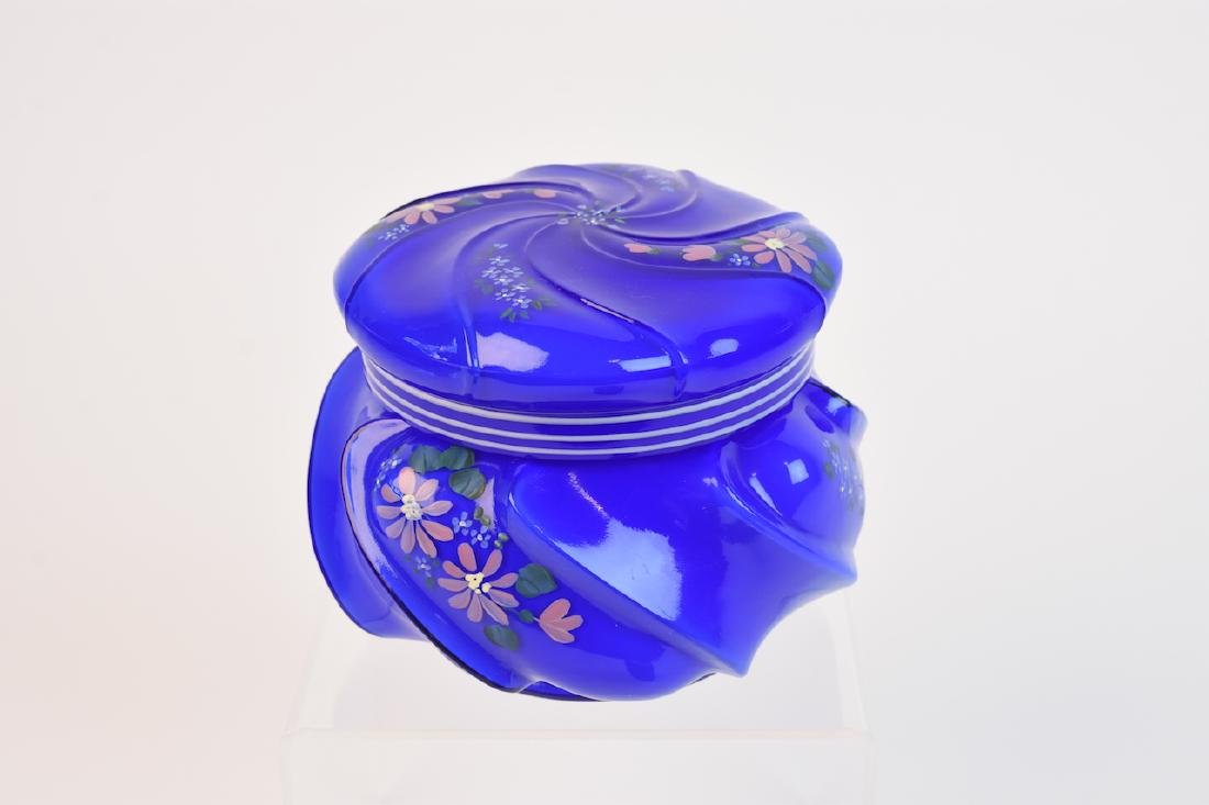 Hand Painted Fenton Lidded Dish; signed