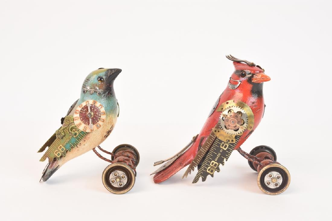 Pair of Mullanium Decoy Birds Mullan Steampunk