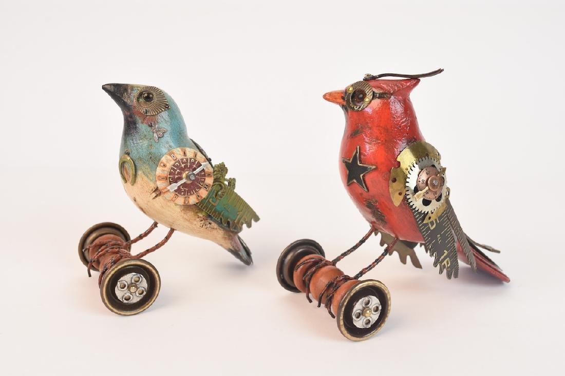 Pair of Mullanium Decoy Birds Mullan Steampunk - 2