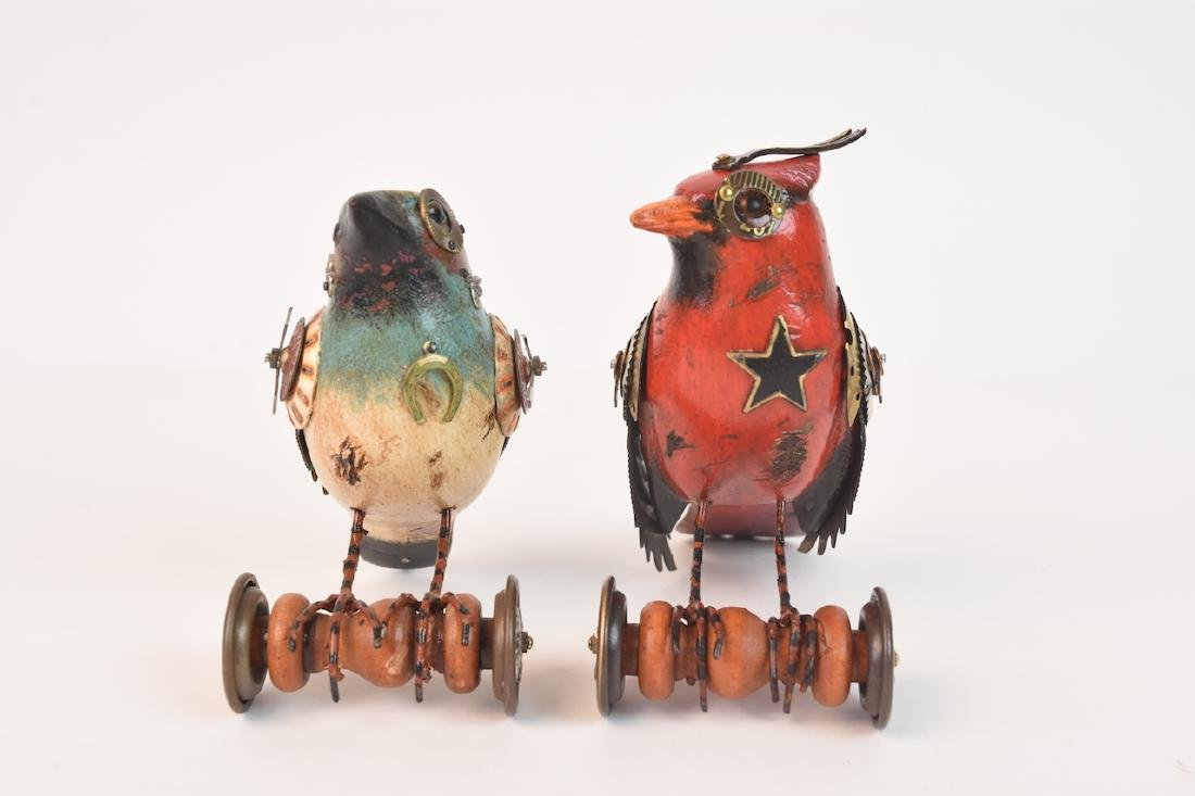 Pair of Mullanium Decoy Birds Mullan Steampunk - 3