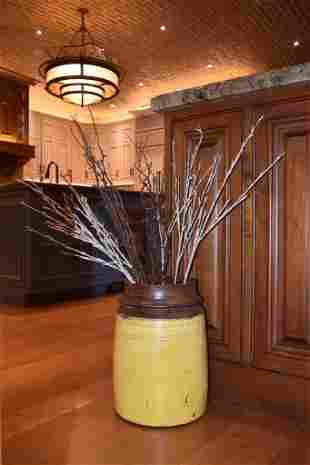 Painted Wood Barrel With Lighted Stems