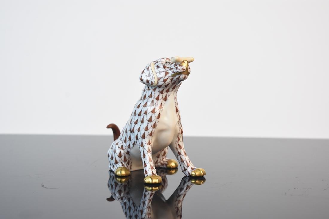 """Herend Dog """"Max"""" w/ Bone Fishnet Figurine"""