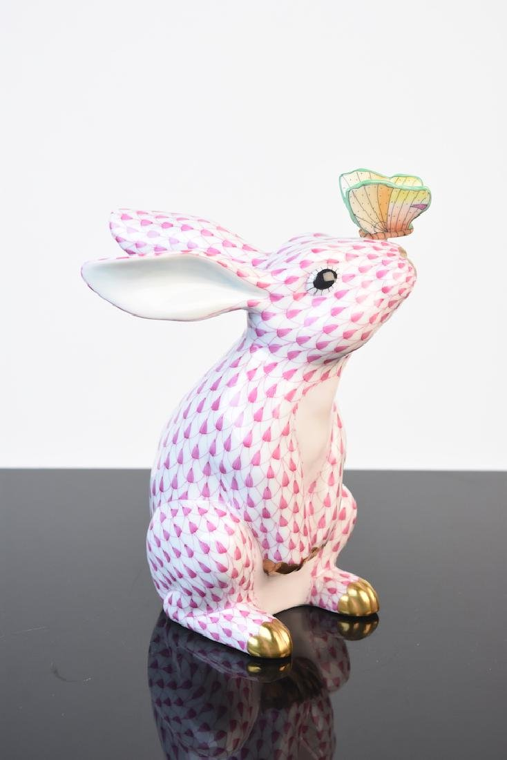 Herend Bunny w/ Butterfly on Nose Fishnet Figurine