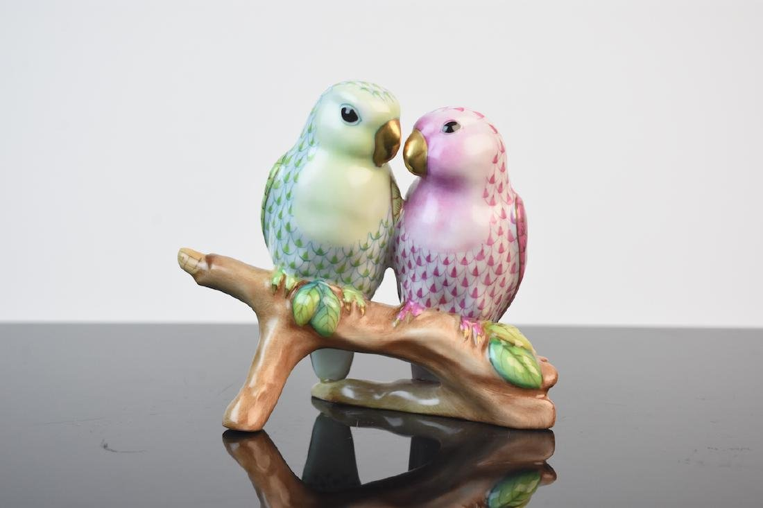 Herend Porcelain Love Birds Fishnet Figurine
