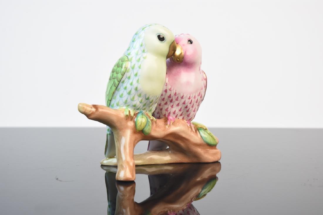 Herend Porcelain Love Birds Fishnet Figurine - 3