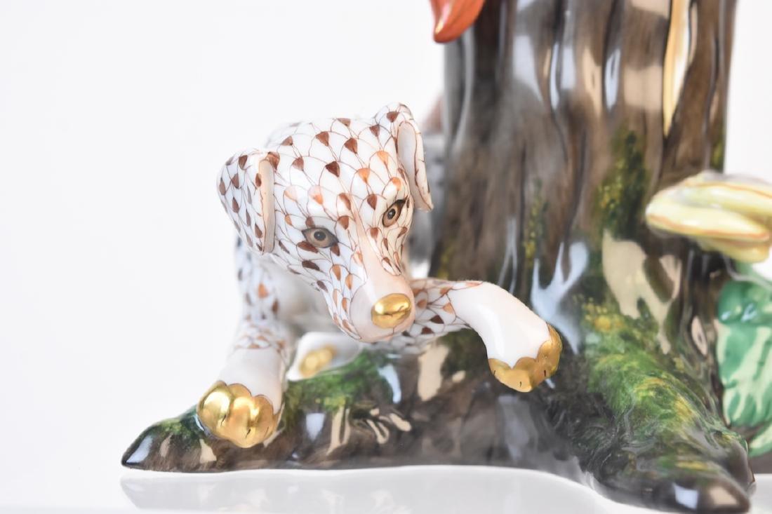 RARE Herend Fox & Hound Porcelain Fishnet Figurine - 3