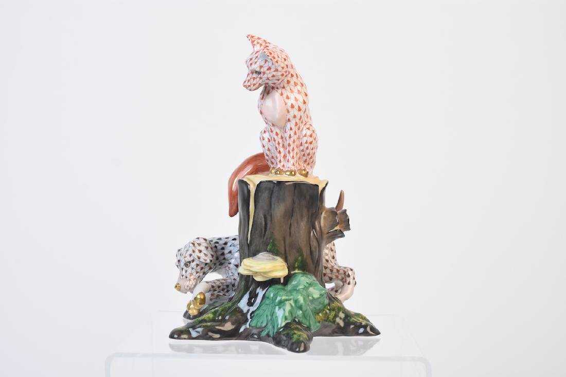 RARE Herend Fox & Hound Porcelain Fishnet Figurine - 6