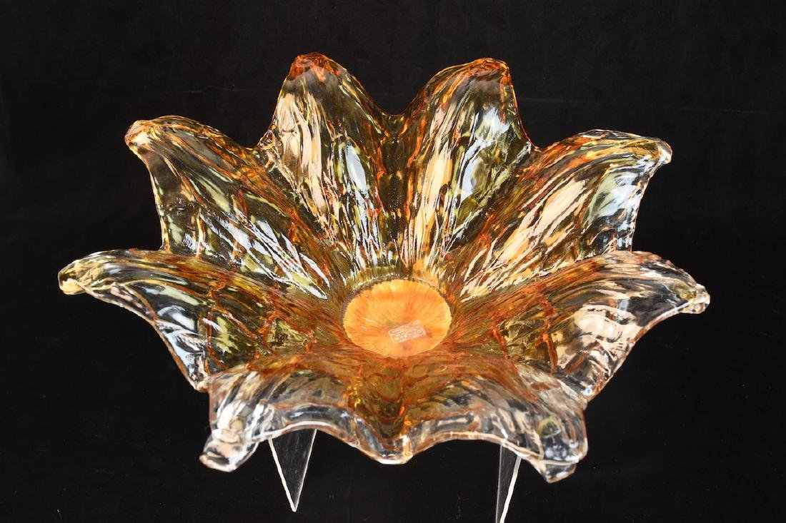 Murano Art Glass Flower Console Bowl