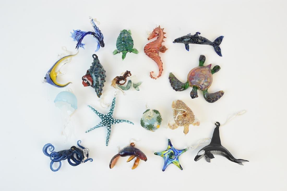 (17) Hand Blown Glass Sea Life Ornaments