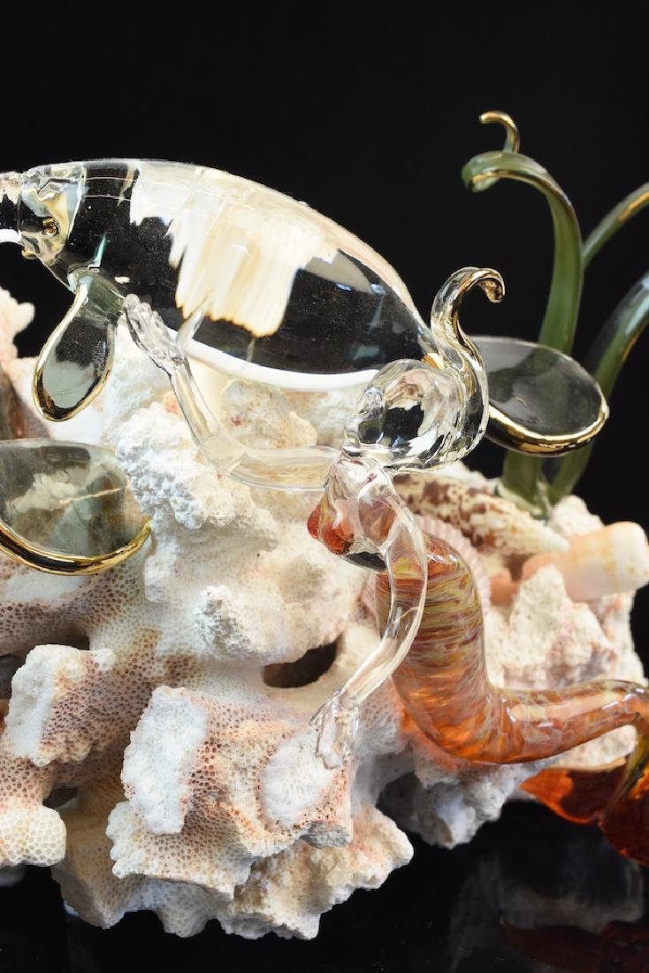 Hand Blown Glass Coral Reef Sea Sculpture by Michael - 2