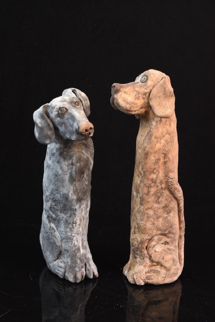 (5) Sharon Sheinbart Clay Standing Dog Figurines - 5