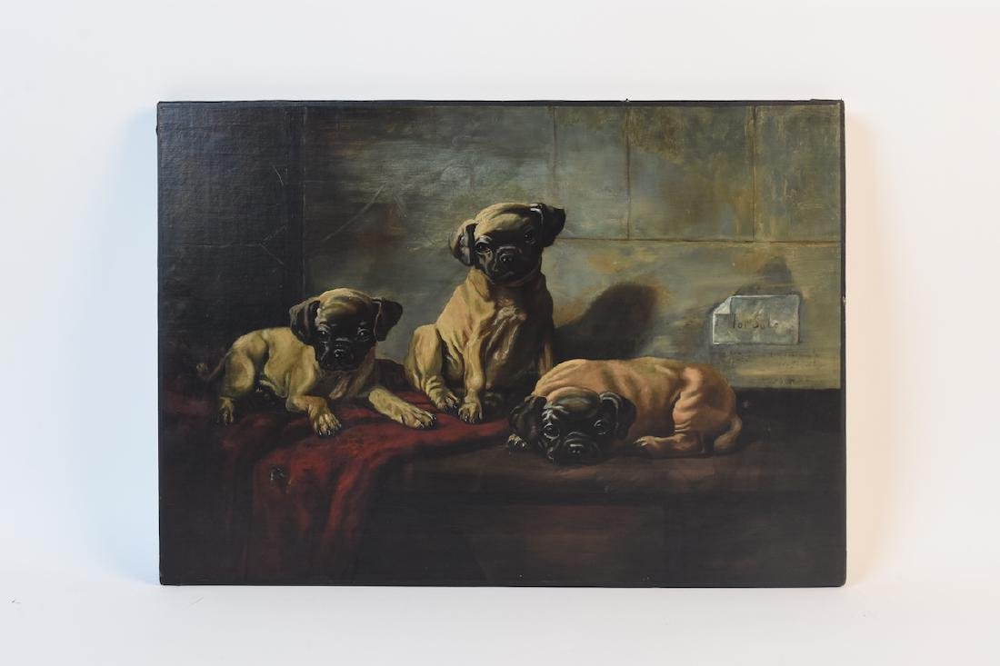 Oil on Board of Puppies For Sale