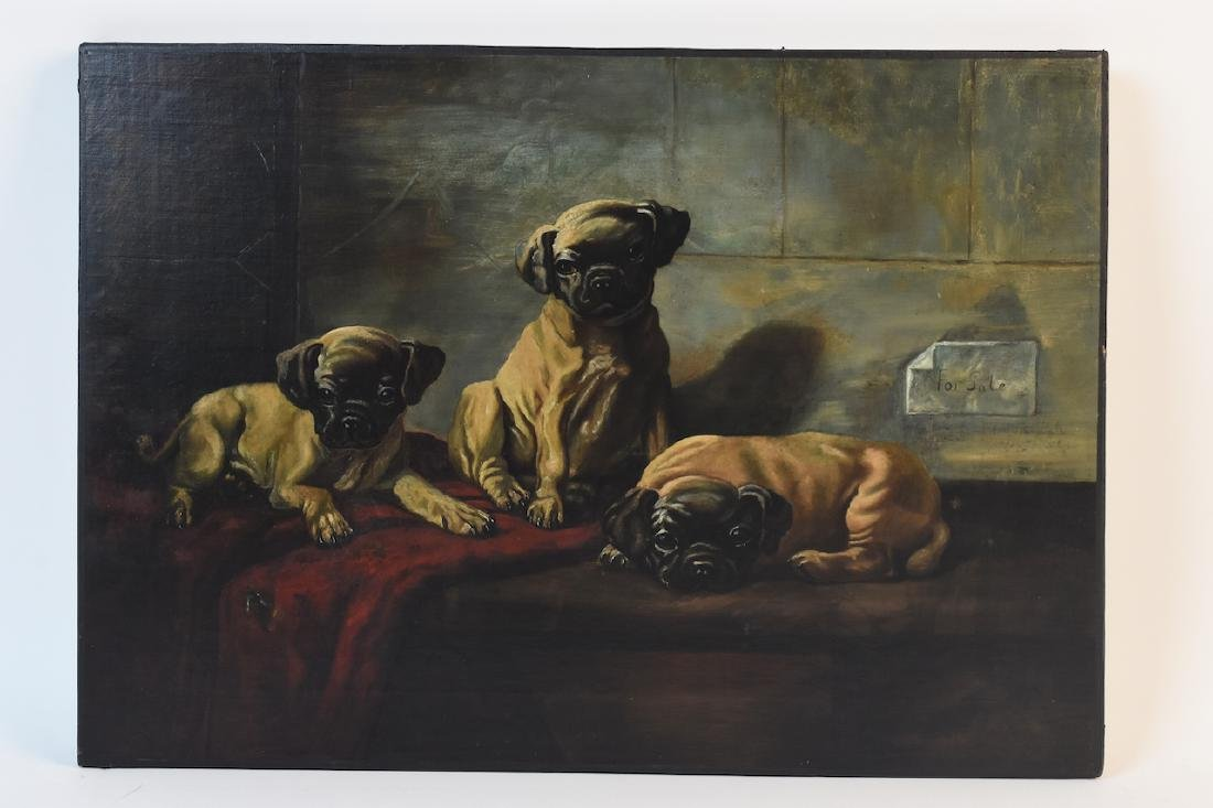 Oil on Board of Puppies For Sale - 2