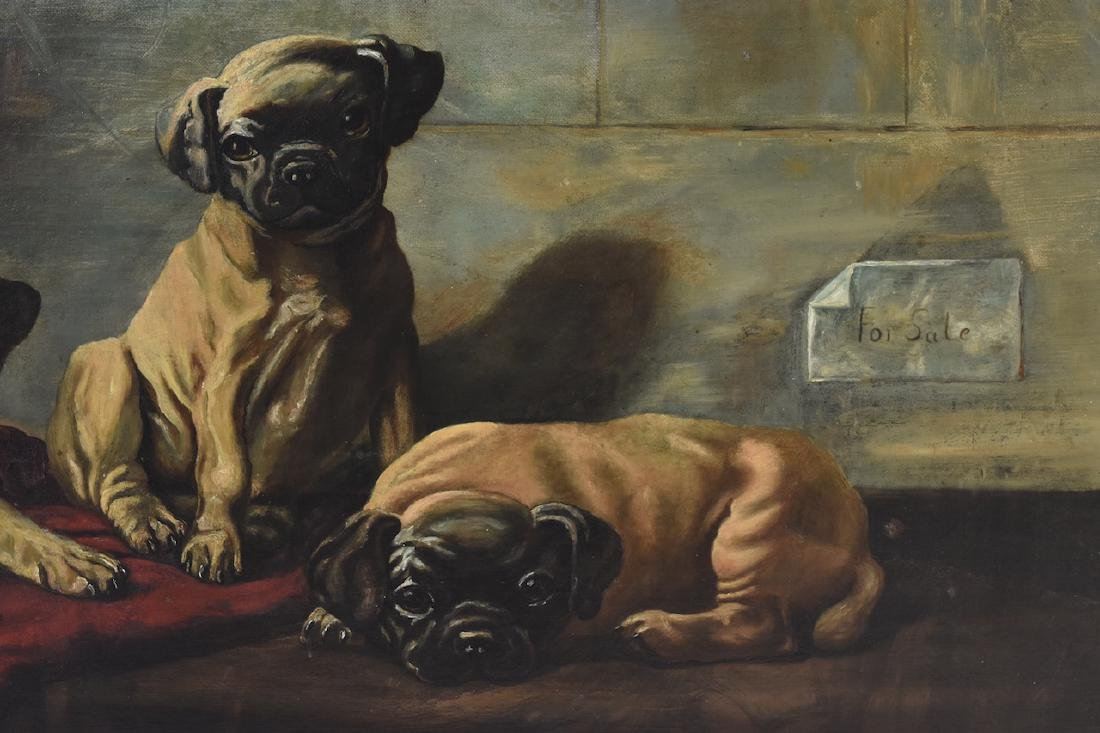 Oil on Board of Puppies For Sale - 4