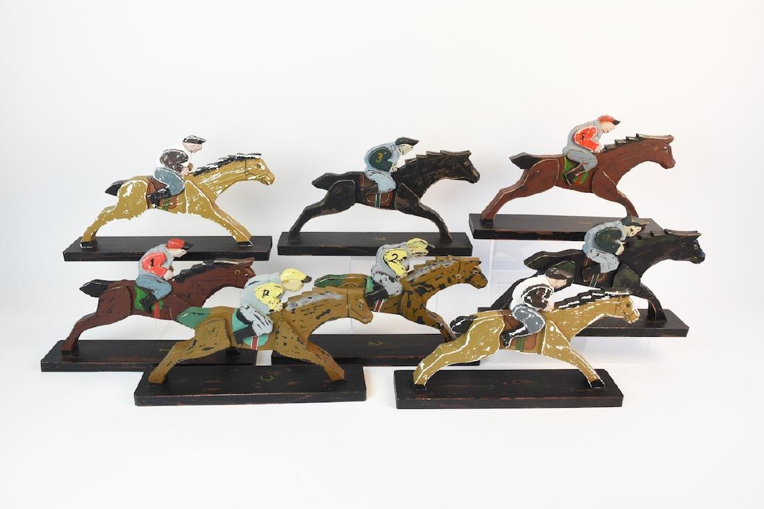 (8) Horse & Jockey Carved Wood Figures