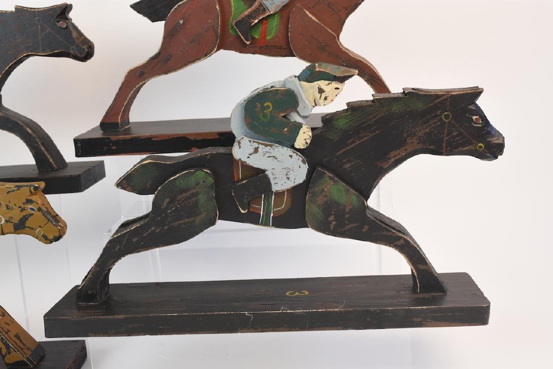 (8) Horse & Jockey Carved Wood Figures - 4