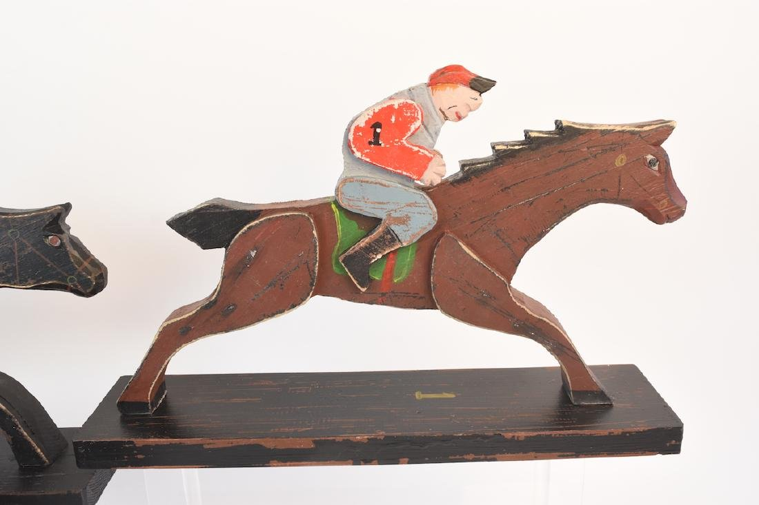 (8) Horse & Jockey Carved Wood Figures - 5