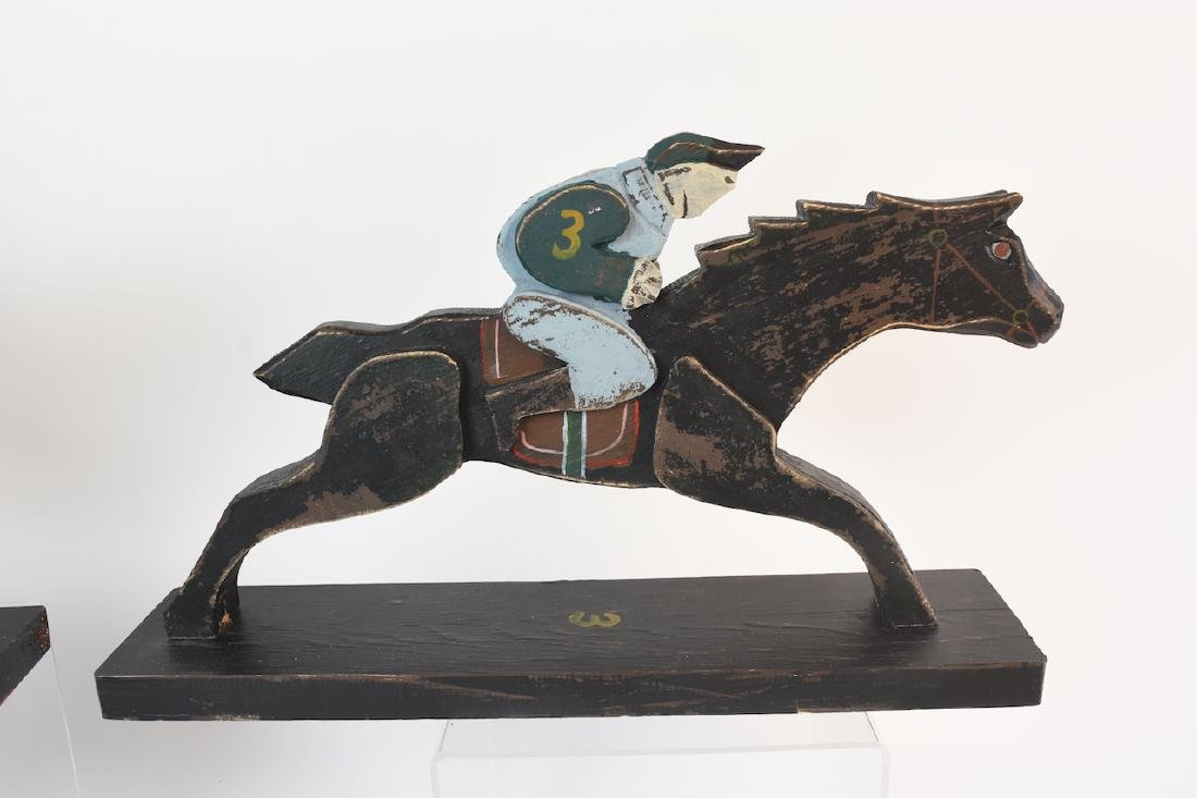 (8) Horse & Jockey Carved Wood Figures - 6