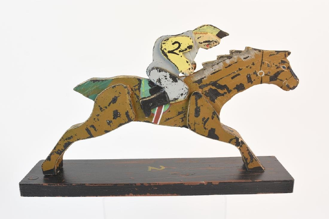 (8) Horse & Jockey Carved Wood Figures - 8