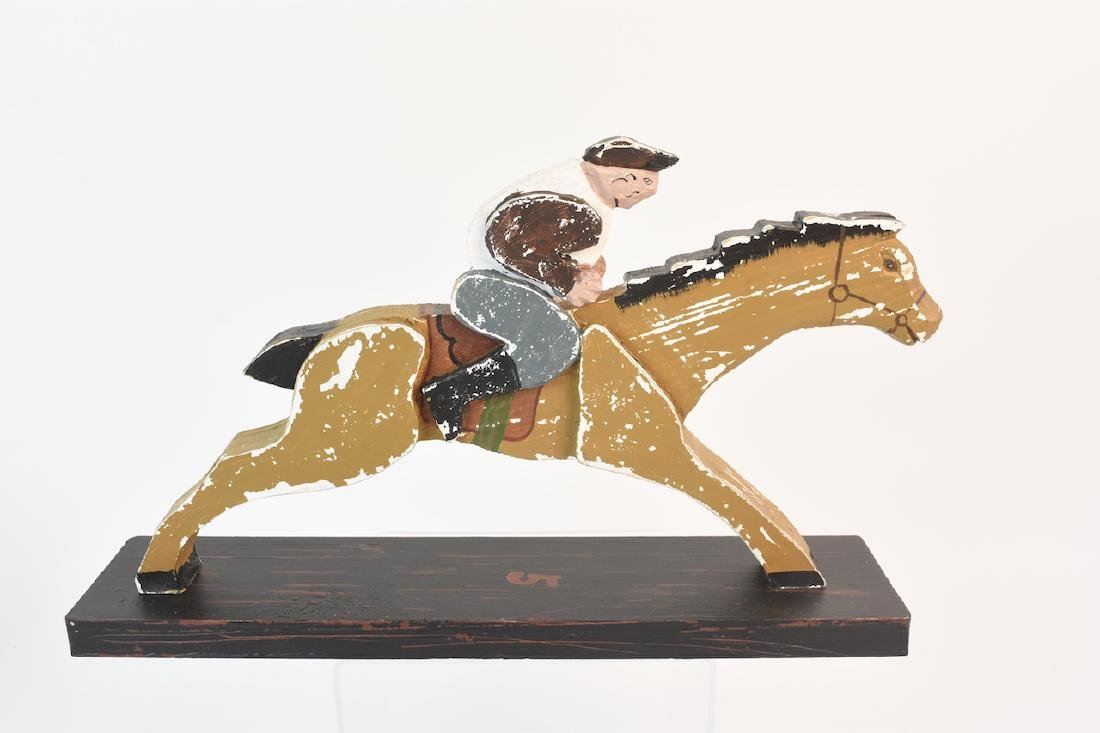 (8) Horse & Jockey Carved Wood Figures - 9