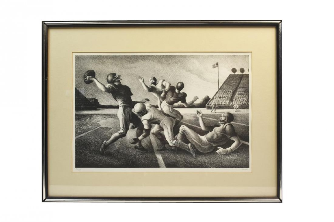 "Thomas Hart Benton ""Forward Pass"" Litho; SLR"