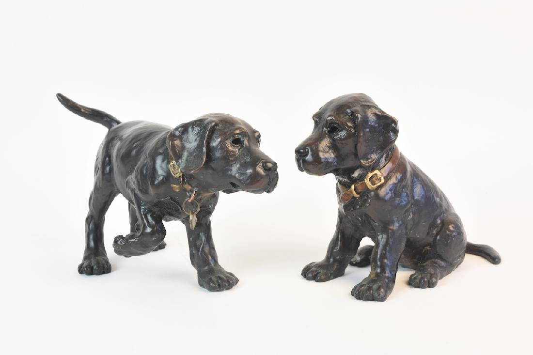 Pair of Bronze Cast Labrador Puppies Doorstops