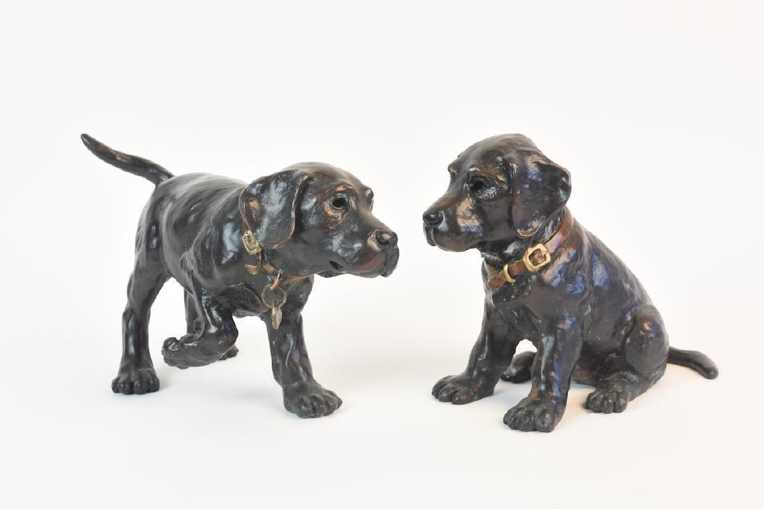 Pair of Bronze Cast Labrador Puppies Doorstops