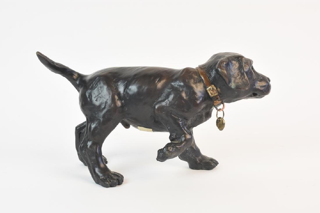 Pair of Bronze Cast Labrador Puppies Doorstops - 2