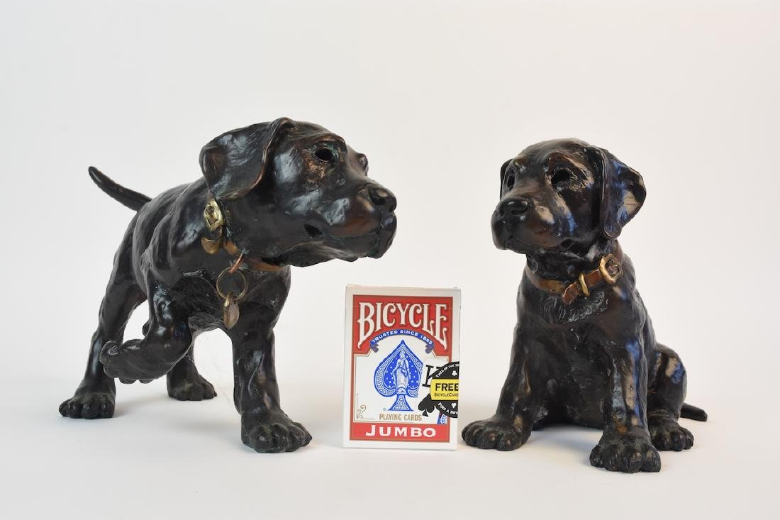 Pair of Bronze Cast Labrador Puppies Doorstops - 5