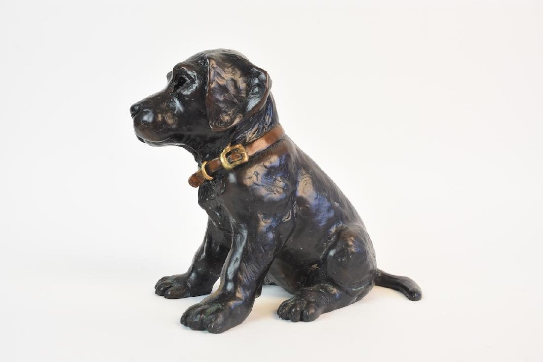Pair of Bronze Cast Labrador Puppies Doorstops - 6