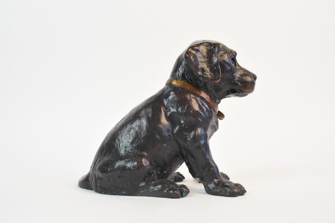 Pair of Bronze Cast Labrador Puppies Doorstops - 7