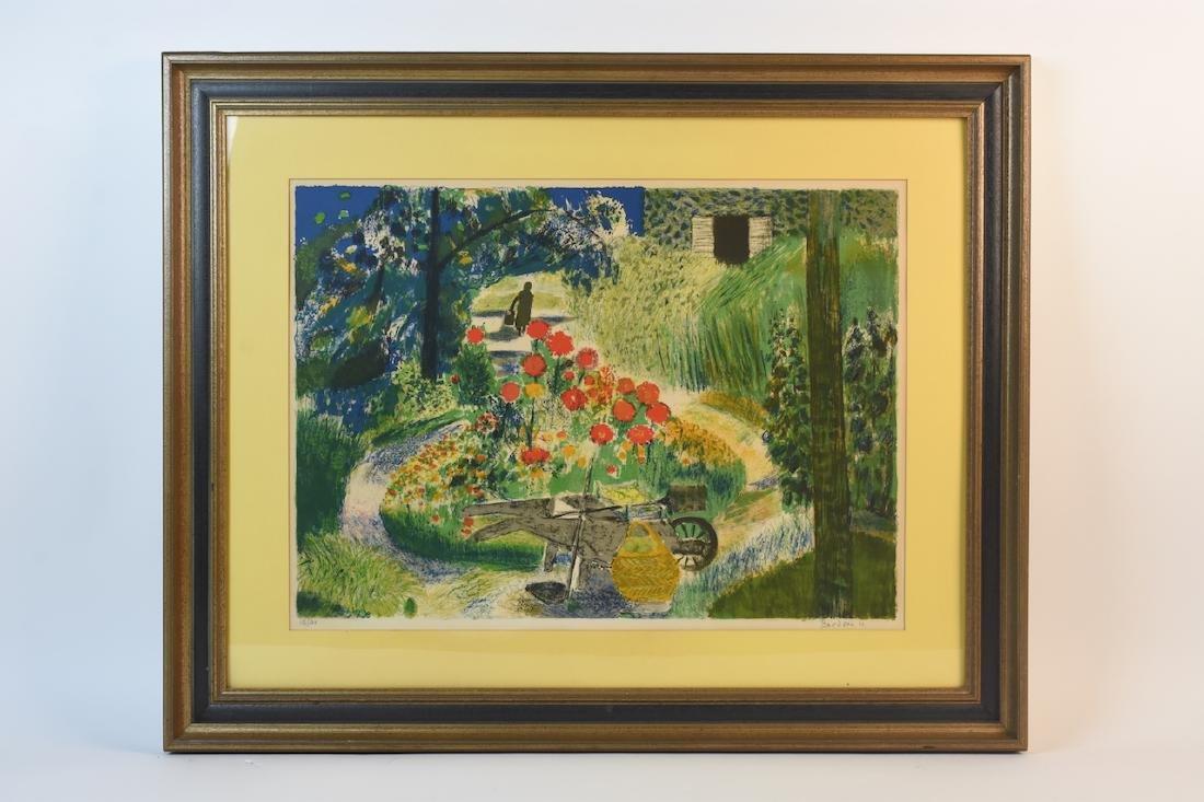 """Guy Bardone """"le Garden"""" Lithograph, SLR"""