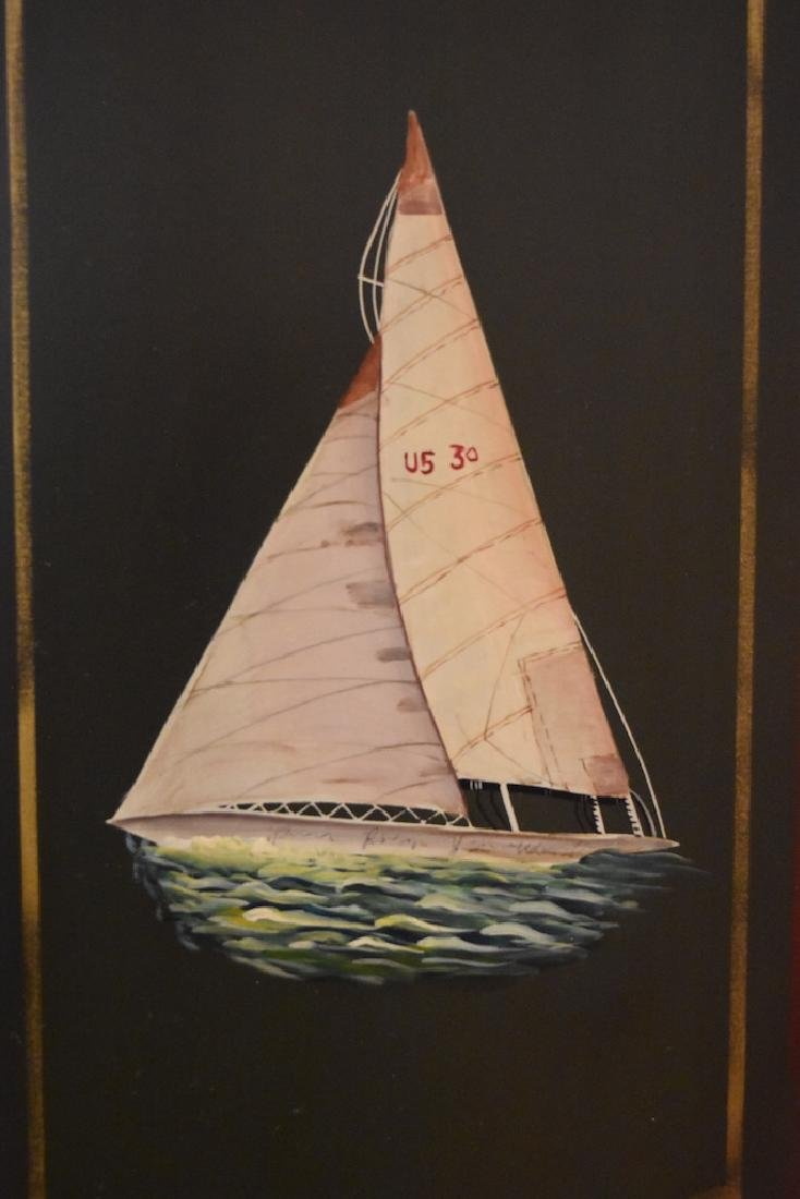 Hand Painted Armoire w/ Sailboat Painted Doors - 2