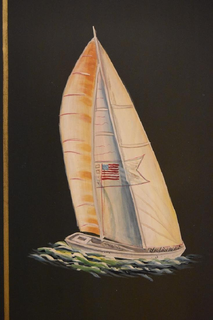 Hand Painted Armoire w/ Sailboat Painted Doors - 3