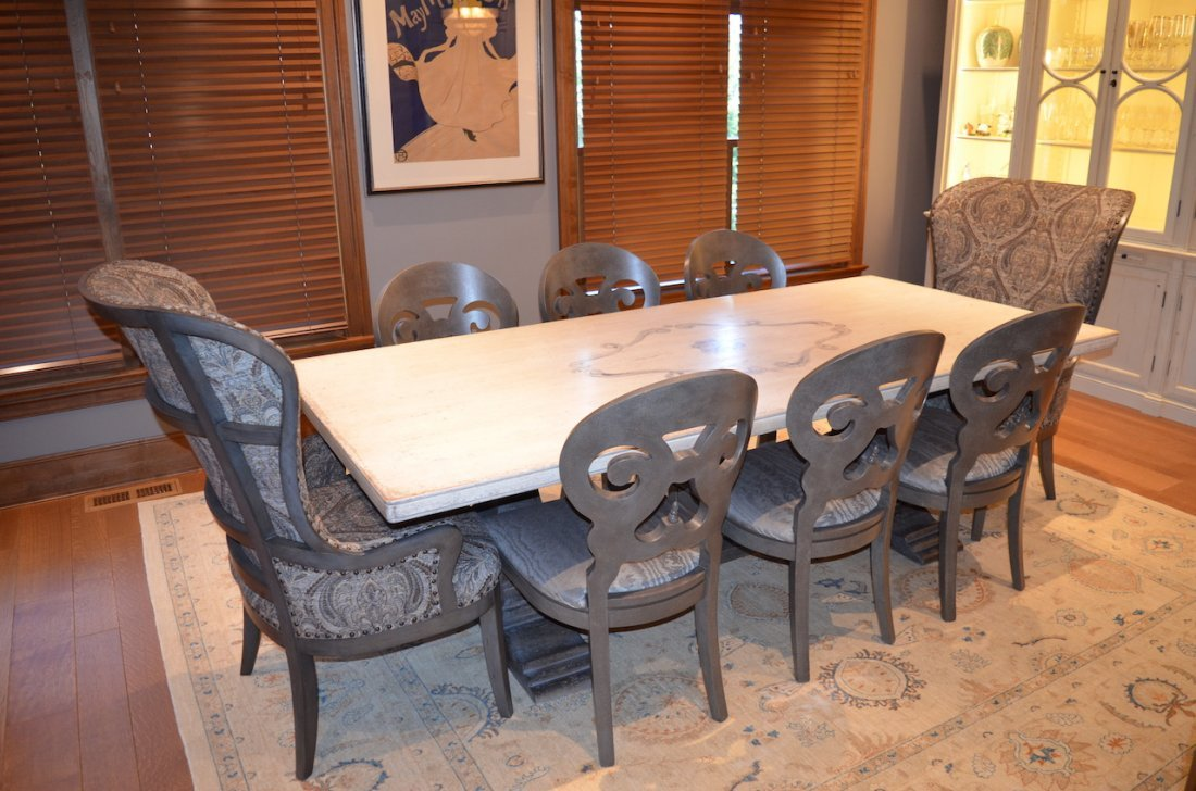 Cerea Old World Italian Pedestal Dining Table w/ 8