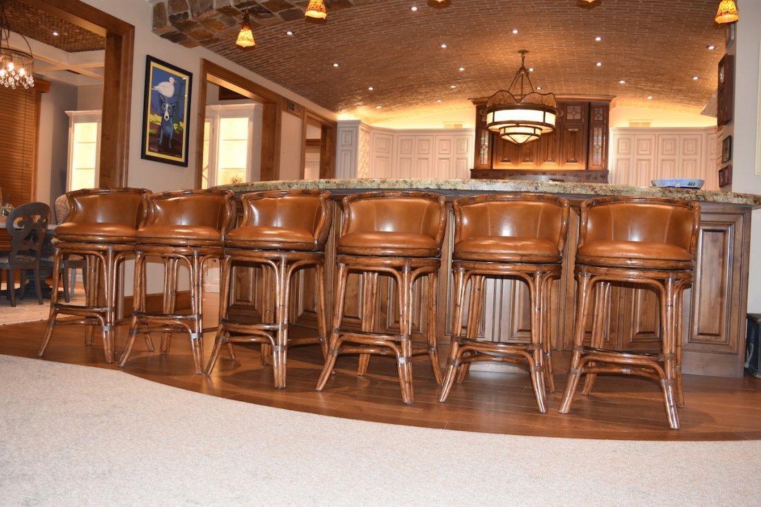 (6) Bali Leather Swivel Bar Stools by Castilex