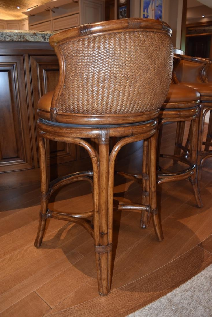 (6) Bali Leather Swivel Bar Stools by Castilex - 3