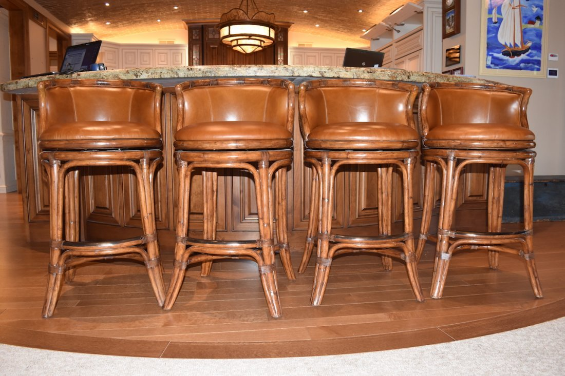 (6) Bali Leather Swivel Bar Stools by Castilex - 7