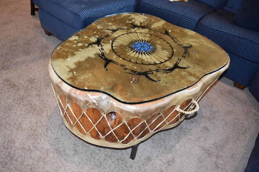 Native American Drum Burl Wood Coffee Table