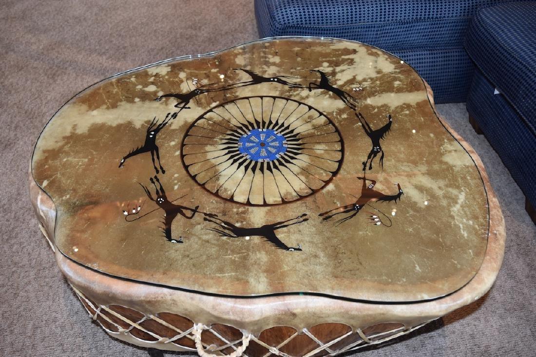 Native American Drum Burl Wood Coffee Table - 2
