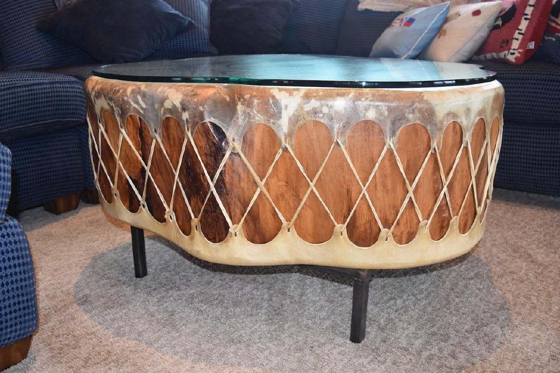 Native American Drum Burl Wood Coffee Table - 3