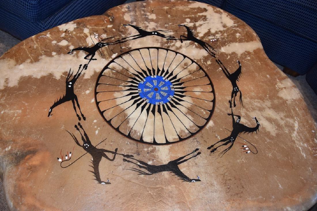 Native American Drum Burl Wood Coffee Table - 4