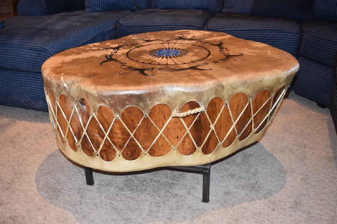 Native American Drum Burl Wood Coffee Table - 6