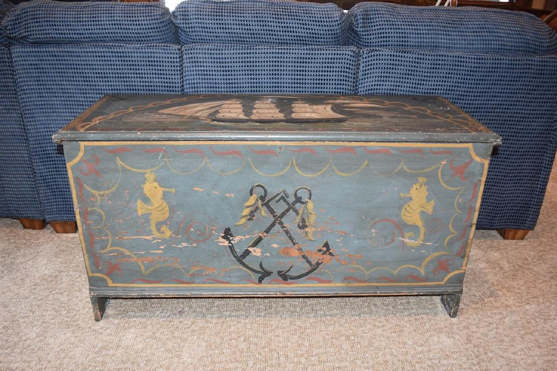 Old Wood Nautical Themed Hand Painted Trunk