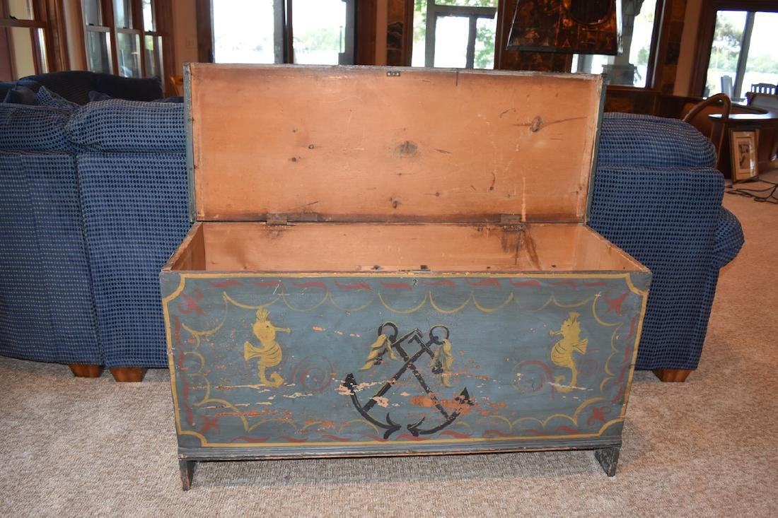 Old Wood Nautical Themed Hand Painted Trunk - 3